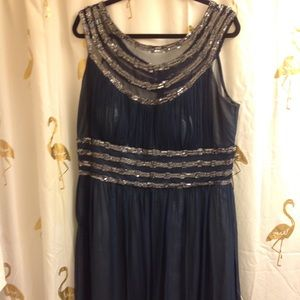 Adrianna Papell Formal Blue Sequins Dress 16W midi